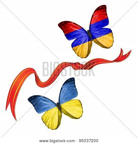 Two butterflies with symbols of Ukraine and Armenia