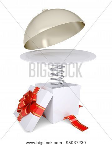 Gift box with red band and plate on spring