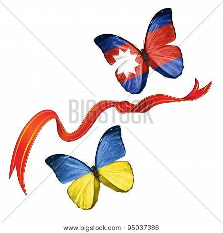 Two butterflies with symbols of Ukraine and Wa State