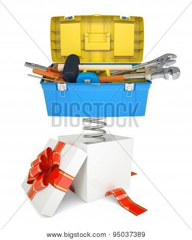 Gift box with red band and toolbox
