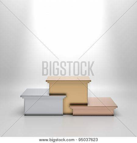 Empty golden, silver and bronze podium.