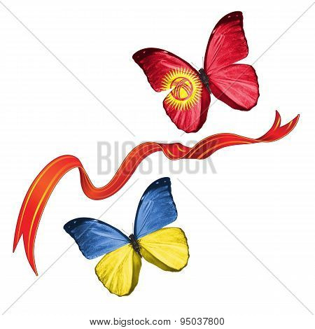 Two butterflies with symbols of Ukraine and Kyrgyzstan