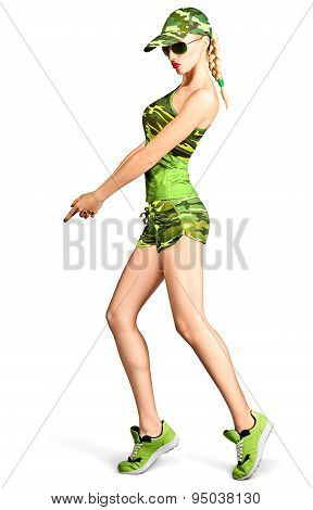 Sexy blond woman in camouflage style making gun gesture