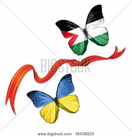 Two butterflies with symbols of Ukraine and Palestine