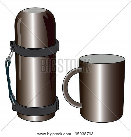 Iron and steel thermos mug for picnic
