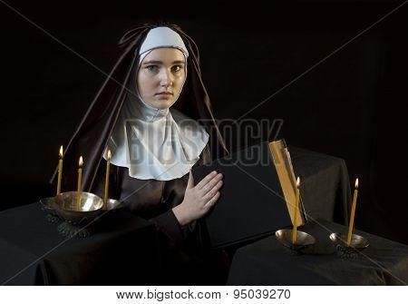Nun With Bible.