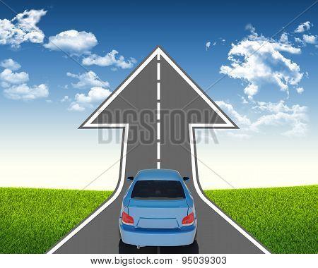 Blue car on arrow road