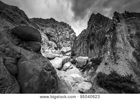 Black And White Rock Formations With Dramatic Sky Cottonwood Canyon