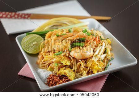 Thai Fried Noodles With Fresh Shrimp Called Pad Thai