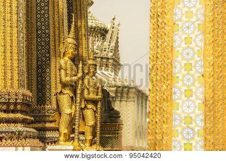 Statues in Wat Phra Kaew temple, Bangkok, Thailand