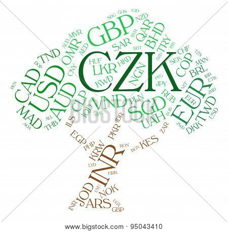 Czk Currency Represents Czech Koruna And Exchange