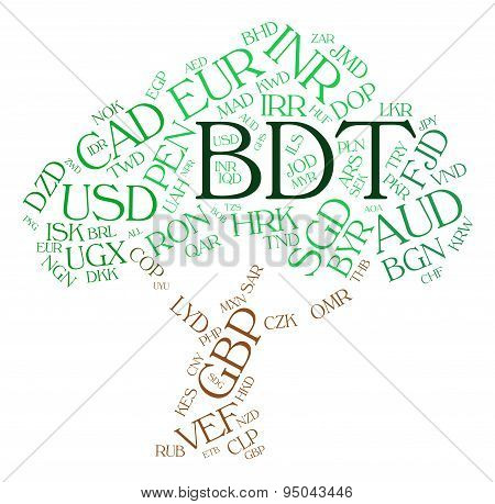 Bdt Currency Shows Bangladesh Taka And Coinage
