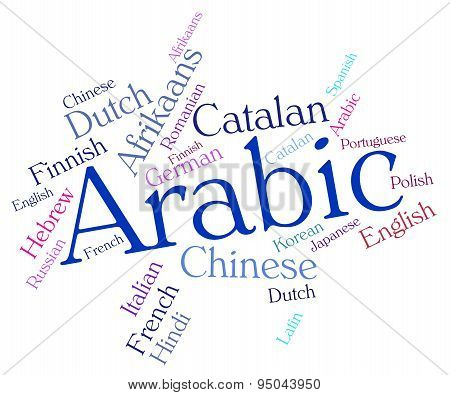 Arabic Language Shows Text Words And Translate