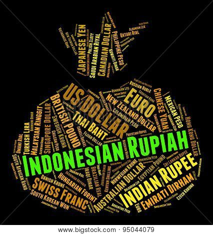 Indonesian Rupiah Shows Worldwide Trading And Currency