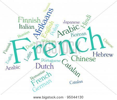 French Language Represents International Languages And Wordcloud