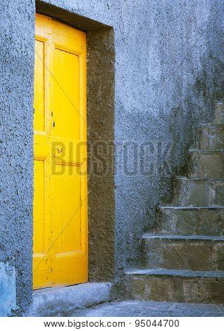 Yellow Door In Cinque Terre In Italy