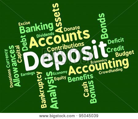 Deposit Word Means Pre Payment And Deposited