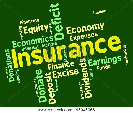 Insurance Word Represents Financial Words And Contracts