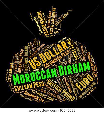 Moroccan Dirham Shows Morocco Dirhams And Currencies