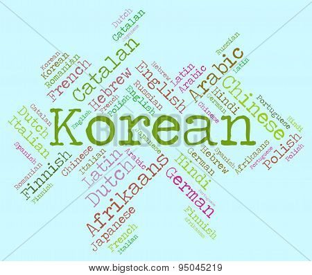 Korean Language Shows Lingo Text And Speech