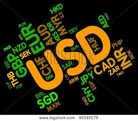 Usd Currency Indicates United States Dollar And Currencies