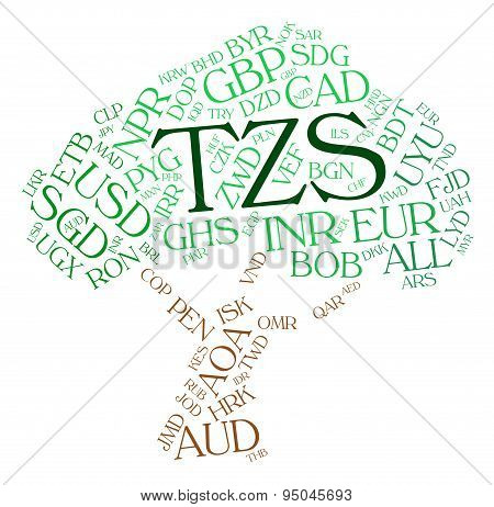 Tzs Currency Represents Exchange Rate And Coin