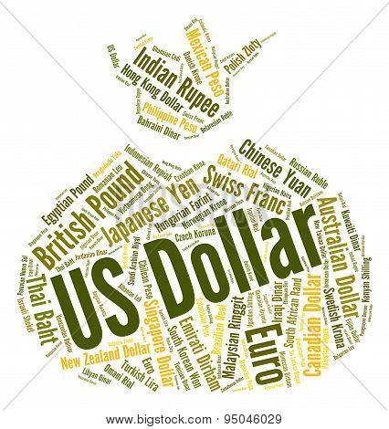 Us Dollar Shows Exchange Rate And Coin
