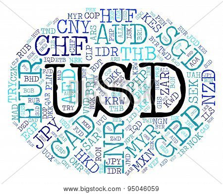 Usd Currency Indicates United States Dollar And American