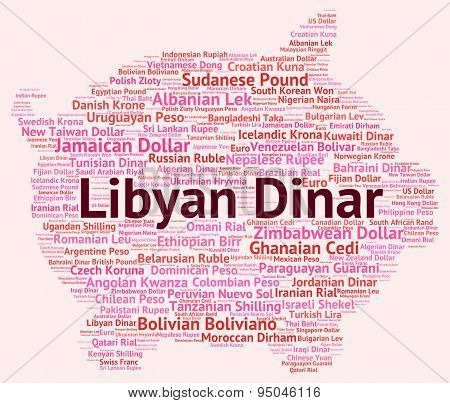 Libyan Dinar Shows Exchange Rate And Currency