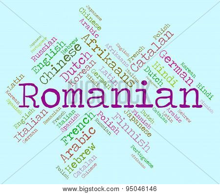 Romanian Language Shows Translate Word And Text