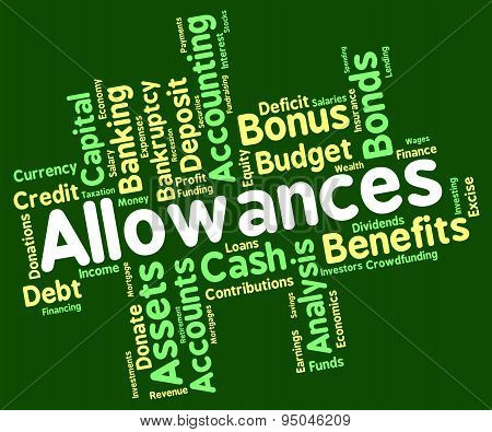 Allowances Word Shows Bonus Text And Award
