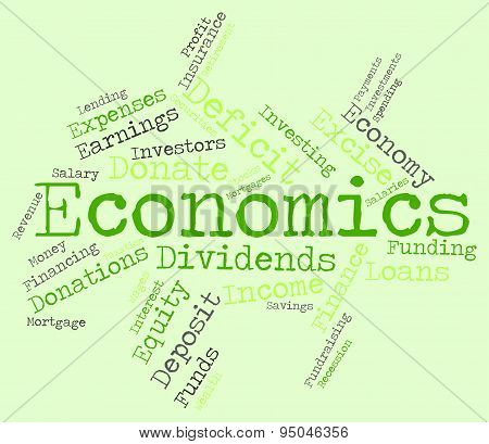 Economics Word Shows Finance Economize And Economical