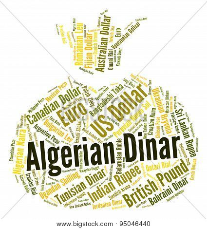 Algerian Dinar Indicates Currency Exchange And Coinage