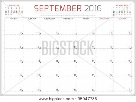 Calendar Planner 2016. Vector Design Template. September. Week Starts Monday