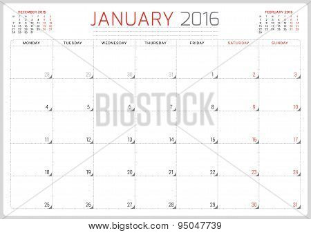 Calendar Planner 2016. Vector Design Template. January. Week Starts Monday