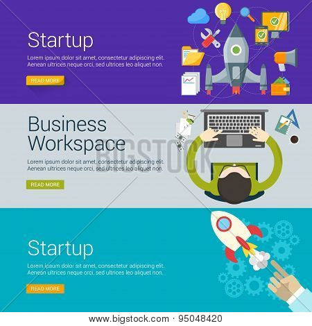 Flat Design Concept. Set Of Vector Illustrations For Web Banners. Startup, Business Workspace