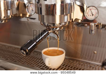 Close up of making coffee