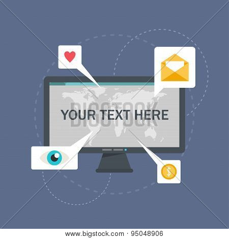 Flat Illustration Of Desktop Screen With World Map And Speach Bubbles With Icons
