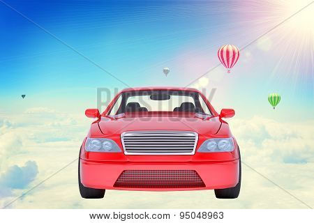 Red car on clouds