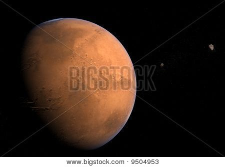 Mars with moons - Phobos and Deimos