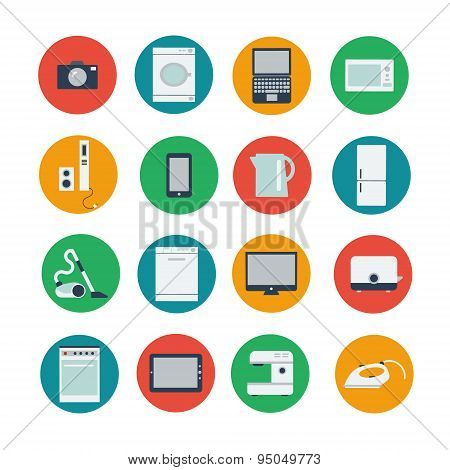 Icon set of household and computer equipment