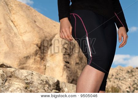 Young Runner Woman Legs Close-up On Outdoor Background