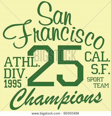 T-shirt Printing Design, Typography Graphics Summer Vector Illustration Badge Applique Label San Fra