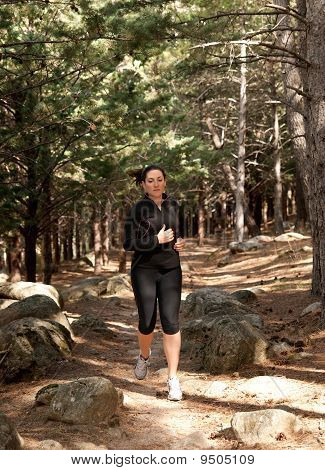 Young Woman Running On Woods, Outdoor Background