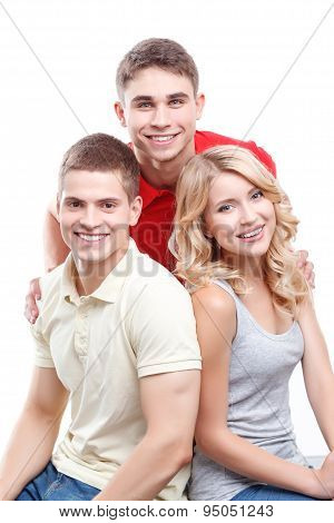 Two man and woman on white isolated background