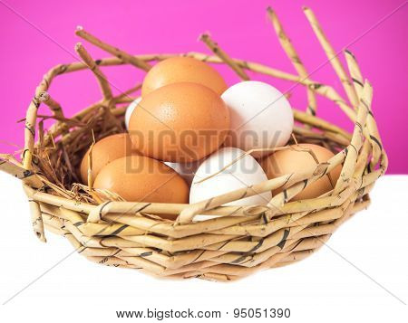 Group Of Chicken Eggs And Duck Eggs Put On The Nest.