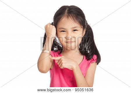Little Asian Girl Point To Bandage On Her Arm