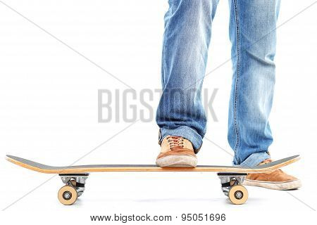 Close up of man using skate board