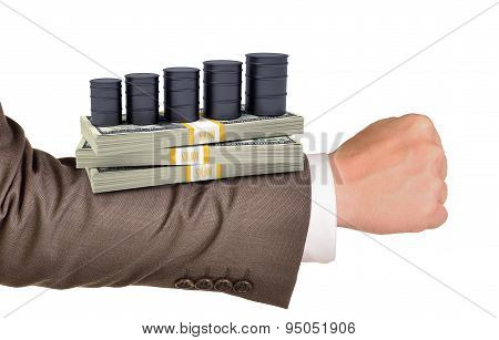 Businessmans arm with money