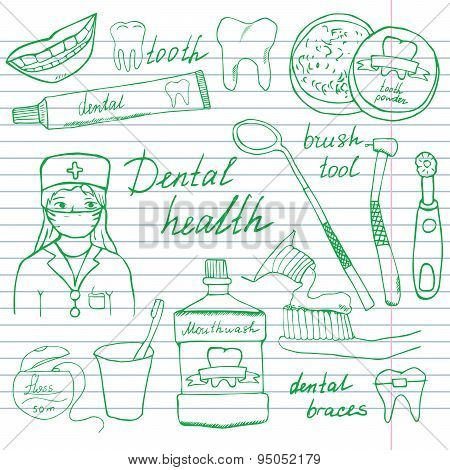 Dental Health Doodles Icons Set. Hand Drawn Sketch With Teeth, Toothpaste Toothbrush Dentist Mouth W